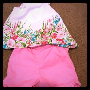Girls 4T floral ruffle top and pink shirts outfit